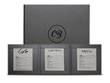 Custom Menu Covers with Strip Pocket Double Panel